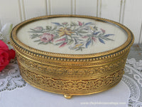 Vintage Apollo Filigree and Petit Point Embroidered Pink Roses Jewelry Trinket Box
