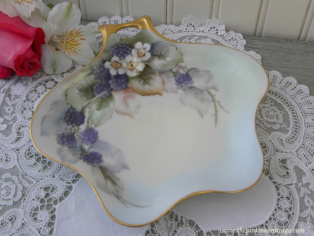 Vintage Haviland Hand Painted Blackberries and Blossoms Handled Candy Tidbit Dish