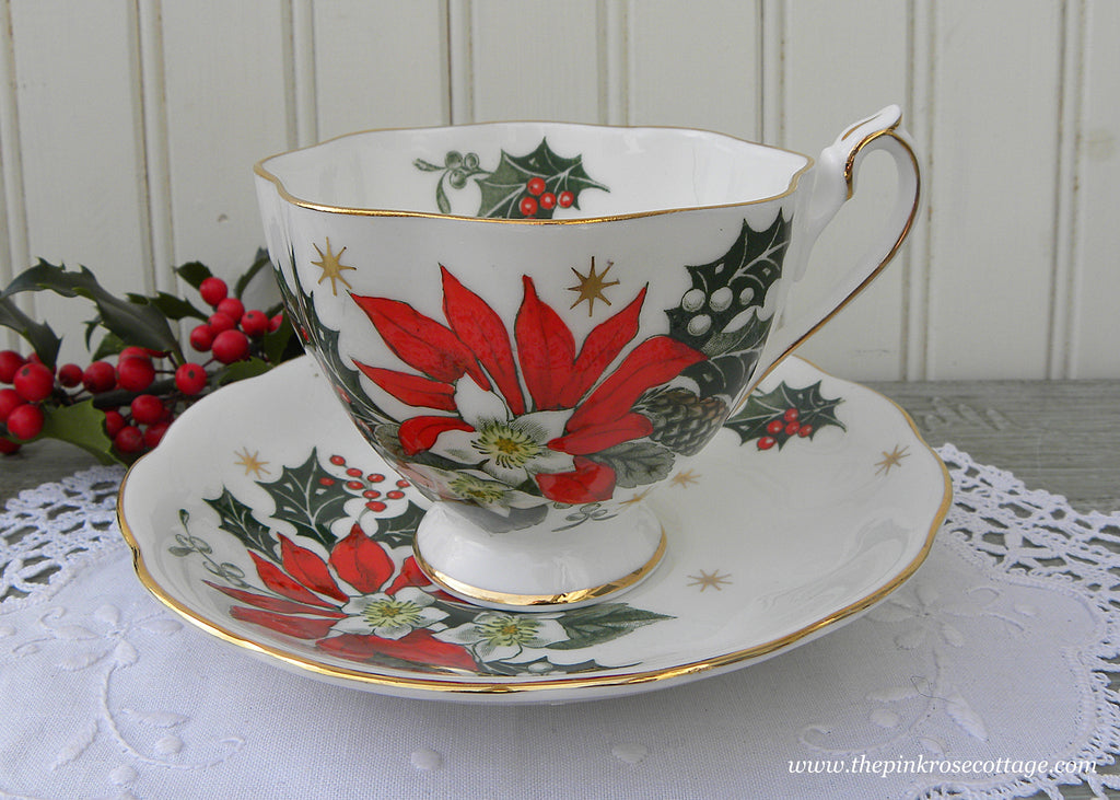 Vintage Princess Anne Noel Christmas Poinsettia Teacup and Saucer