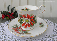 Vintage Royalty Noel Christmas Poinsettia Teacup and Saucer