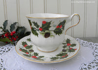 Vintage Royal Grafton Christmas Holly Pinecones Teacup and Saucer