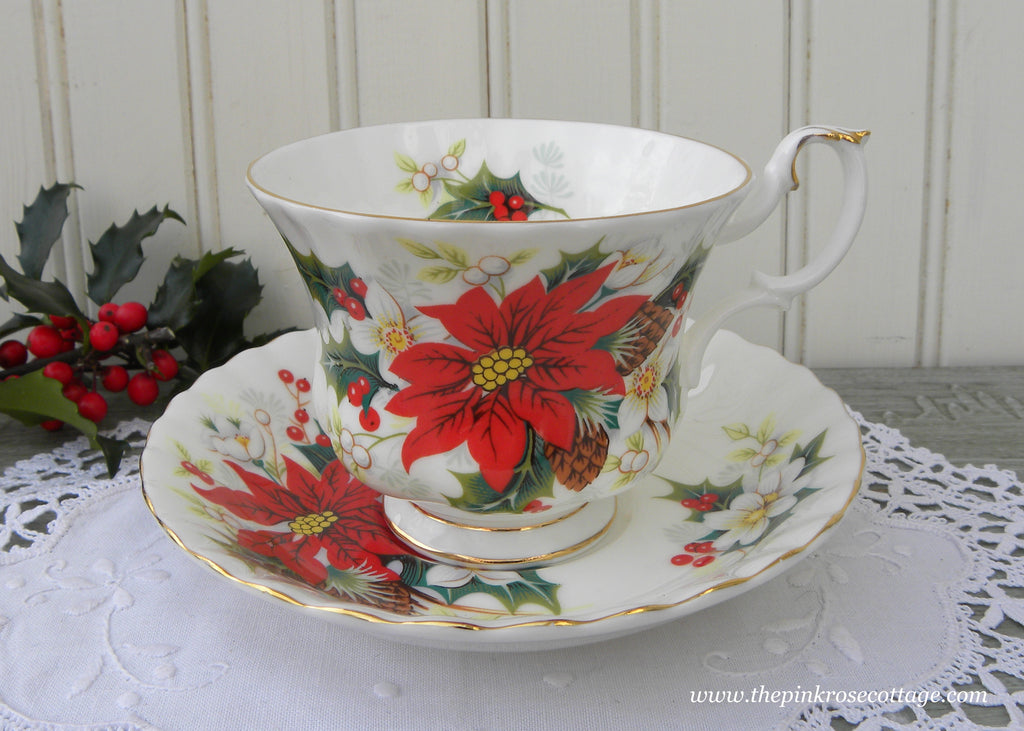 Vintage Royal Albert Christmas Poinsettia Teacup and Saucer