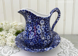 Vintage Blue and White Crownford China Calico Pitcher and Bowl England