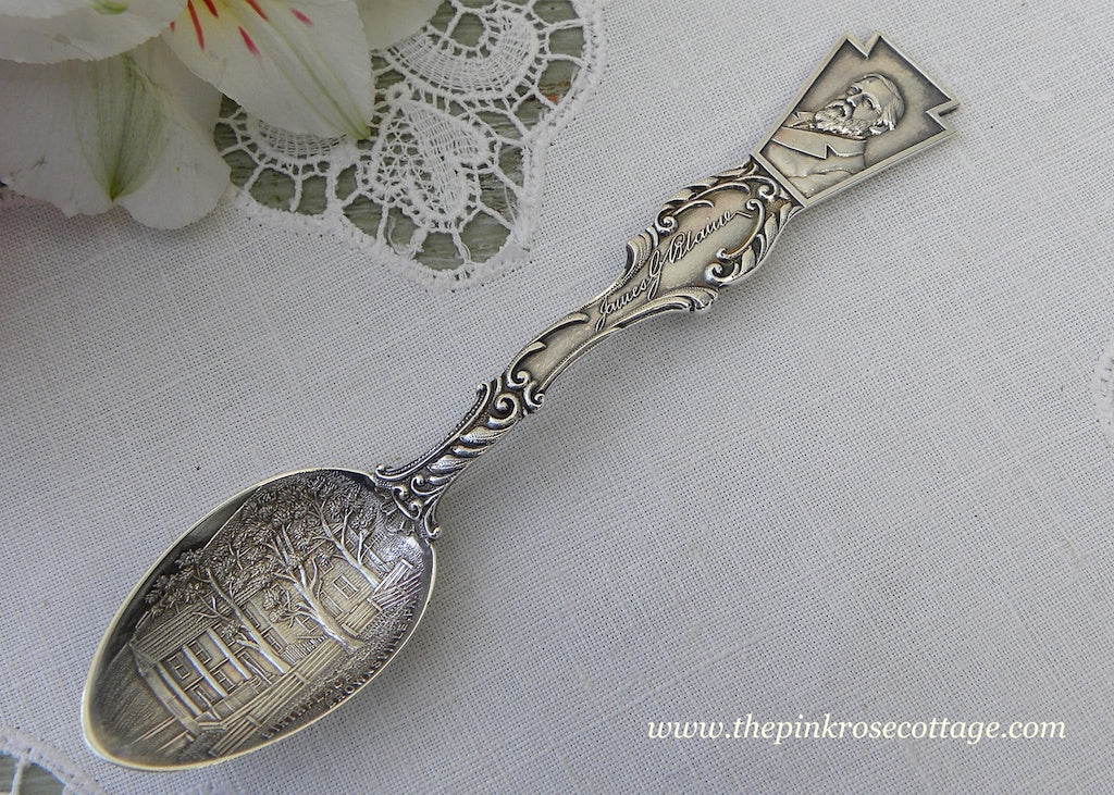Antique 1893 Sterling James G. Blaine Brownsville PA Demitasse Spoon