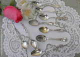 Antique Christmas 1893 Sterling Demitasse Spoon Reticulated Flowers Erie PA - The Pink Rose Cottage