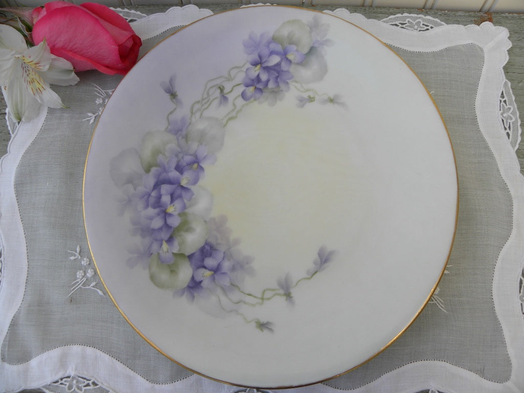 Vintage Hand Painted  Purple Violets Plate France