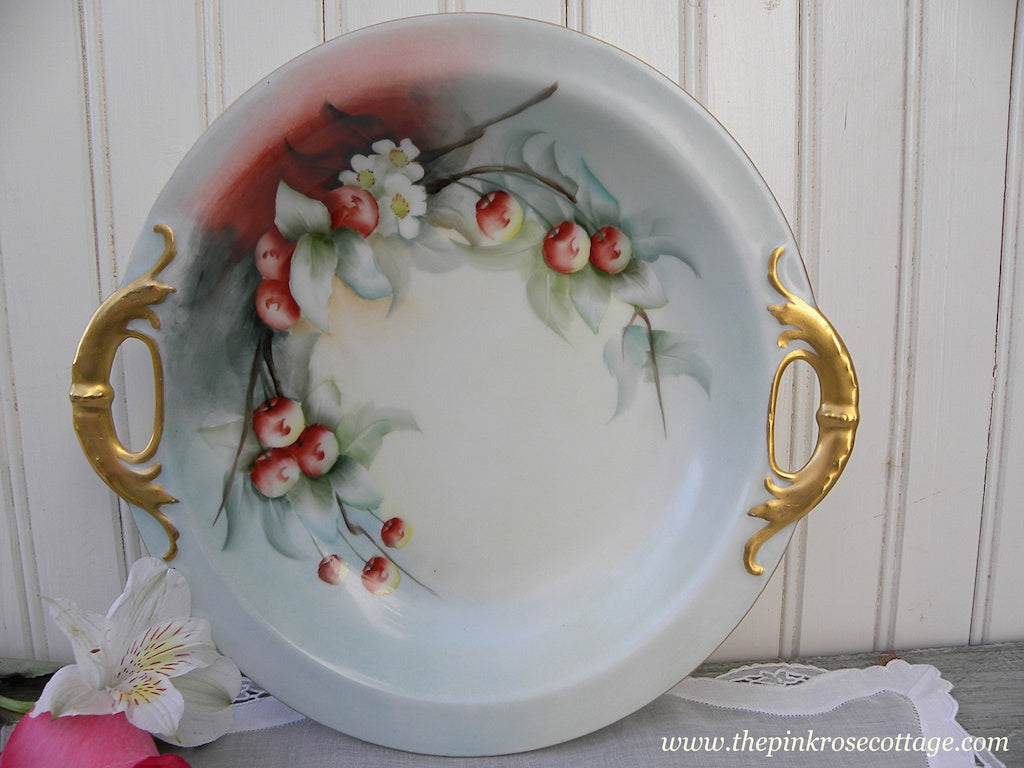 Vintage Haviland Hand Painted Cherries and Cherry Blossoms Handled Bowl