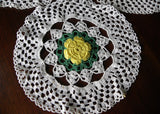 Set of 3 Vintage Hand Crocheted Yellow Irish Rose Doilies - The Pink Rose Cottage