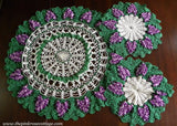 Set of 3 Vintage Hand Crocheted Purple Grapes Doilies and Table Topper - The Pink Rose Cottage
