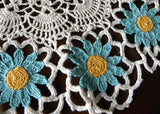 Vintage Hand Crocheted Teal Turquoise Daisy Doily