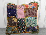 Vintage Hand Made Crazy Quilt Small Pillow Doll