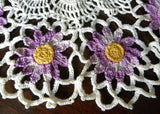 Vintage Hand Crocheted Purple Daisy Doily