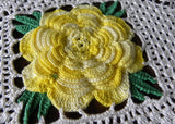 Set of 2 Vintage Hand Crocheted Yellow Irish Rose Doilies - The Pink Rose Cottage