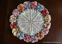 Vintage Hand Crocheted Colorful Pansies Pansy Doily