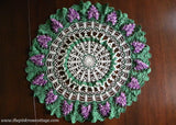 Vintage Hand Crocheted Purple Grapes Doily Tabletopper
