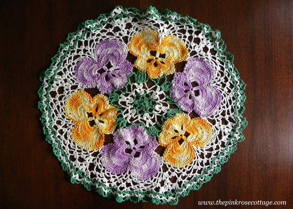 Large Vintage Hand Crocheted Purple and Yellow Pansies Pansy Doily - The Pink Rose Cottage