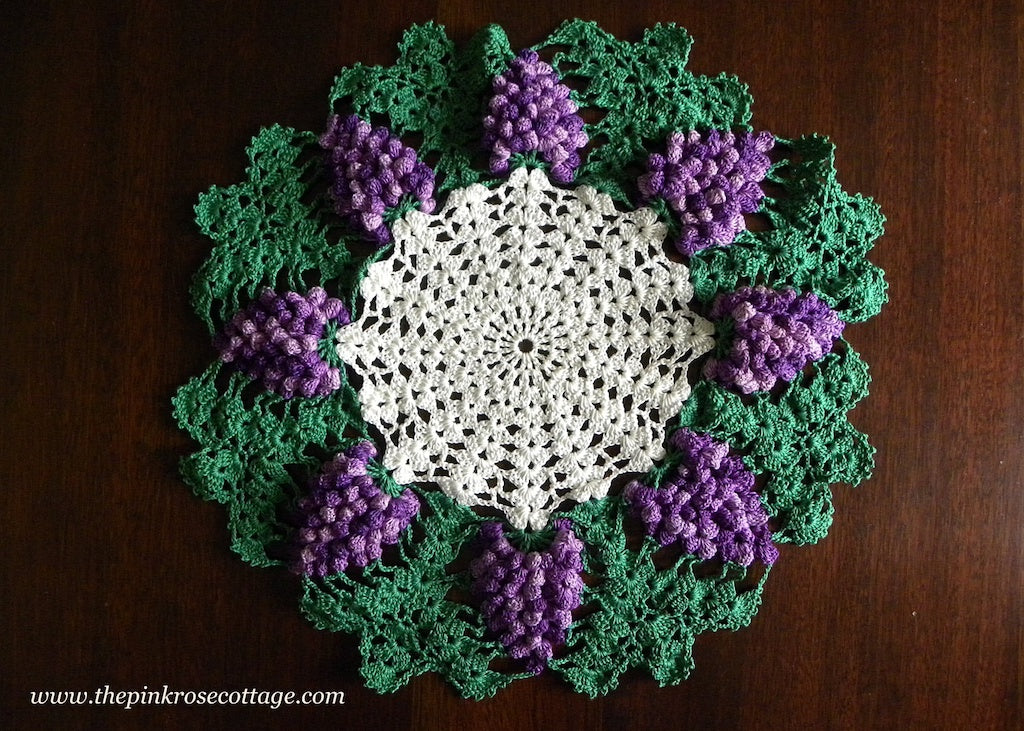 Vintage Hand Crocheted Purple Grapes Doily