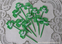 Vintage St. Patrick's Day Shamrock Cupcake Picks Toppers