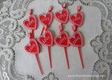 Vintage Valentine Heart Cupcake Picks Toppers