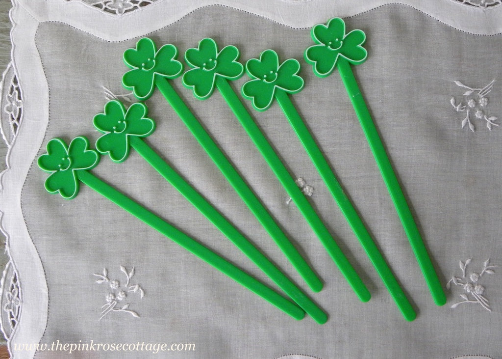 Vintage St. Patrick's Day Shamrock Swizzle Sticks Drink Stirrers