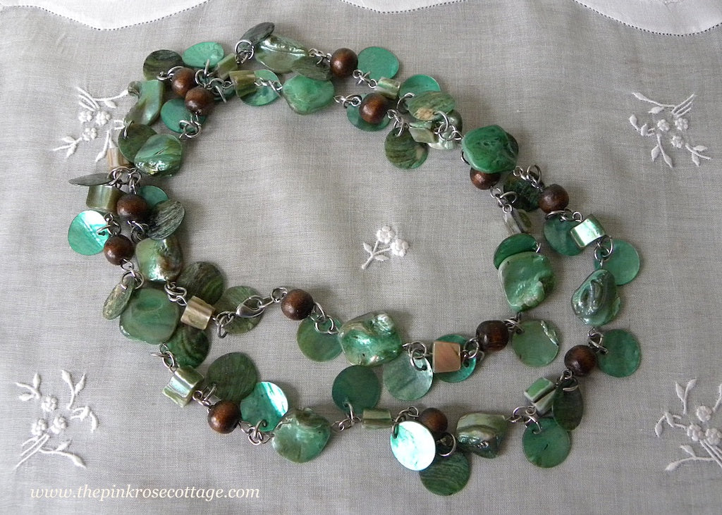 Vintage Teal Green Mother of Pearl Necklace