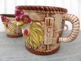 Set of Vintage Chicken Rooster Basket Measuring Cups and Creamer Japan - The Pink Rose Cottage