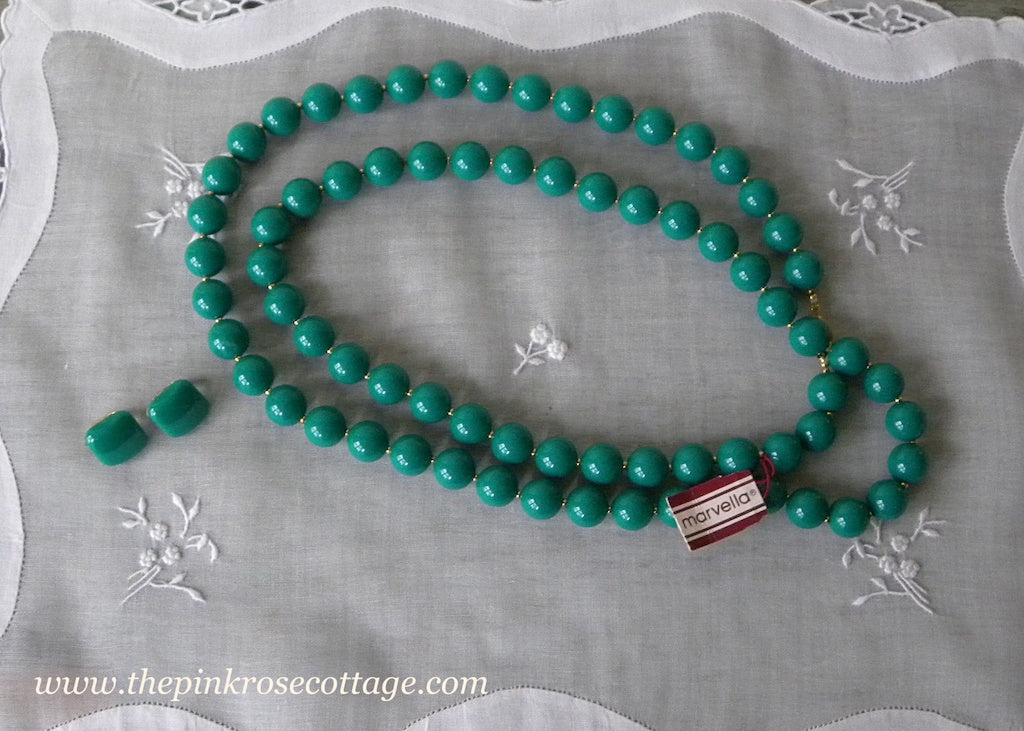 Vintage Tagged Marvella Green Beaded Necklace and Earrings
