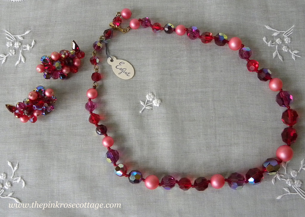 Vintage Tagged Eugene Red Aurora Borealis Beaded Necklace and Earrings