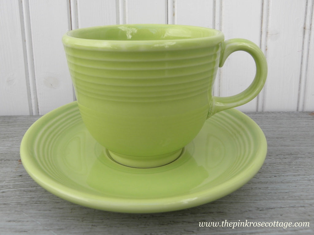 Fiesta Fiestaware Teacup and Saucer Chartreuse - The Pink Rose Cottage