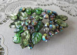 Vintage Floral Green Molded Glass Rhinestone Brooch Pin