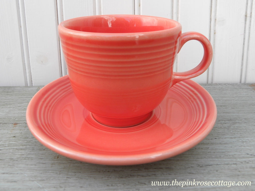 Fiesta Fiestaware Teacup and Saucer Persimmons Orange - The Pink Rose Cottage