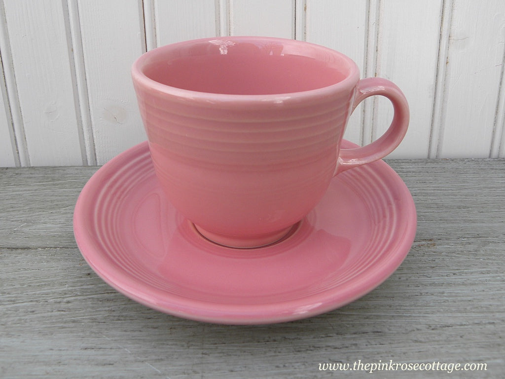 Fiesta Fiestaware Teacup and Saucer Rose Pink - The Pink Rose Cottage