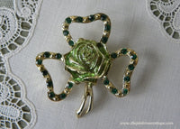 Vintage BJ St. Patrick's Day Shamrock and Rose Rhinestone Pin Brooch