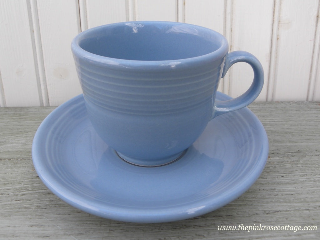 Fiesta Fiestaware Teacup and Saucer Periwinkle Blue - The Pink Rose Cottage