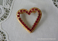 Vintage Red Rhinestones Valentine's Day Heart Pin