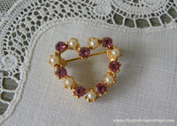 Vintage Pink Rhinestones and Pearls Heart Pin