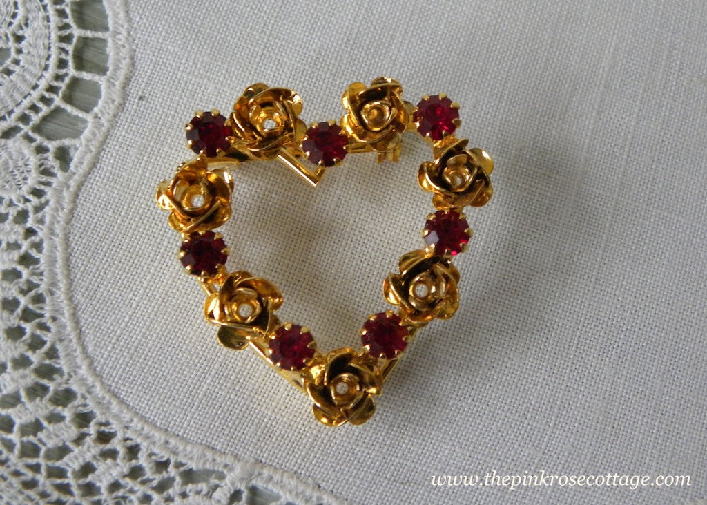 Vintage Red Rhinestones and Roses Valentine's Day Heart Pin
