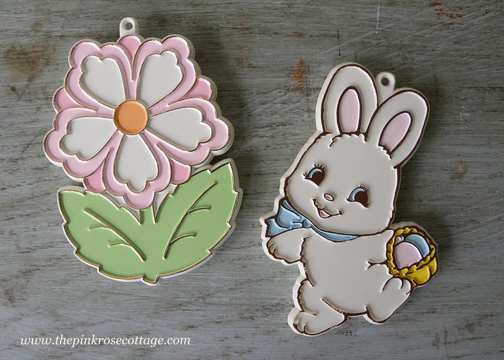Vintage Hallmark Colored Cookie Cutters Easter Bunny and Spring Flower