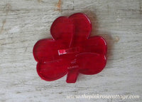 Vintage Red Plastic Shamrock St. Patrick's Day Cookie Cutter
