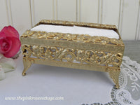 Vintage Vanity Gold Filigree Footed Small Tissue Holder