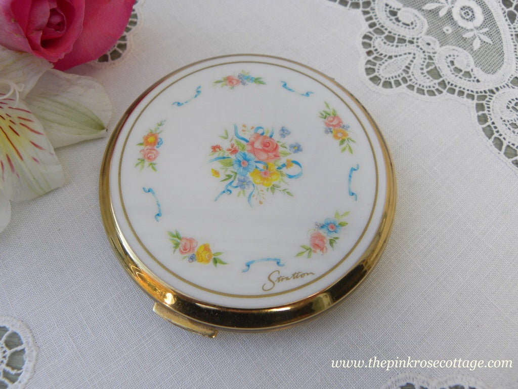 Vintage Stratton Ladies Powder Compact Pink and Yellow Roses