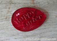 Vintage Red Plastic Happy Easter Egg Cookie Cutter