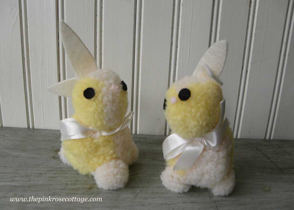 Pair of Vintage Yellow Pom Pom Easter Bunnies Rabbits - The Pink Rose Cottage