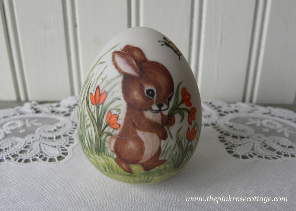 Vintage Hand Painted Easter Bunny with Orange Tulips Egg