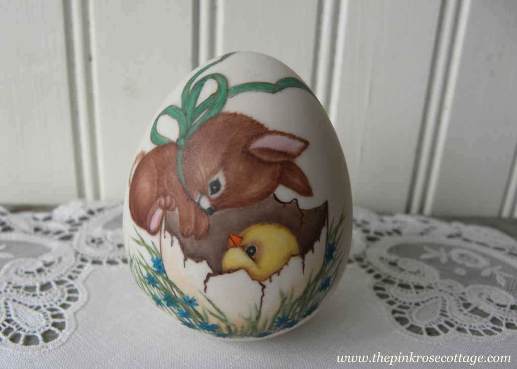 Vintage Hand Painted Easter Bunny with Baby Chick Egg