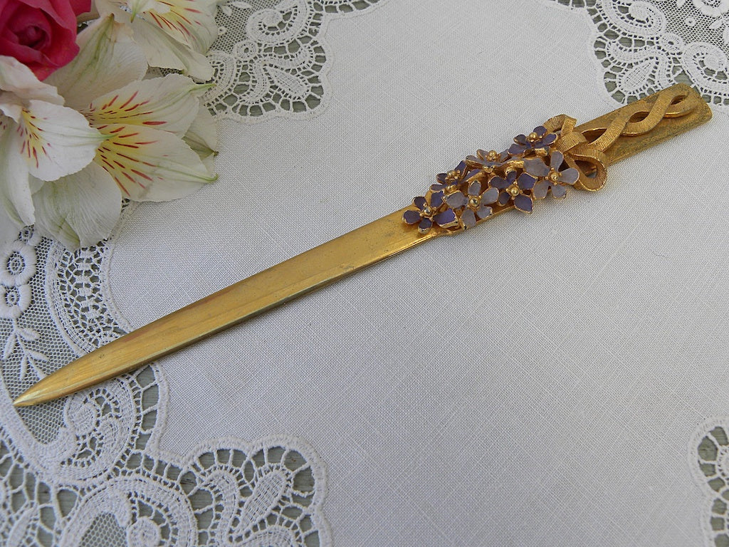 Vintage Letter Opener with Enameled Lilac Blossom and Bow