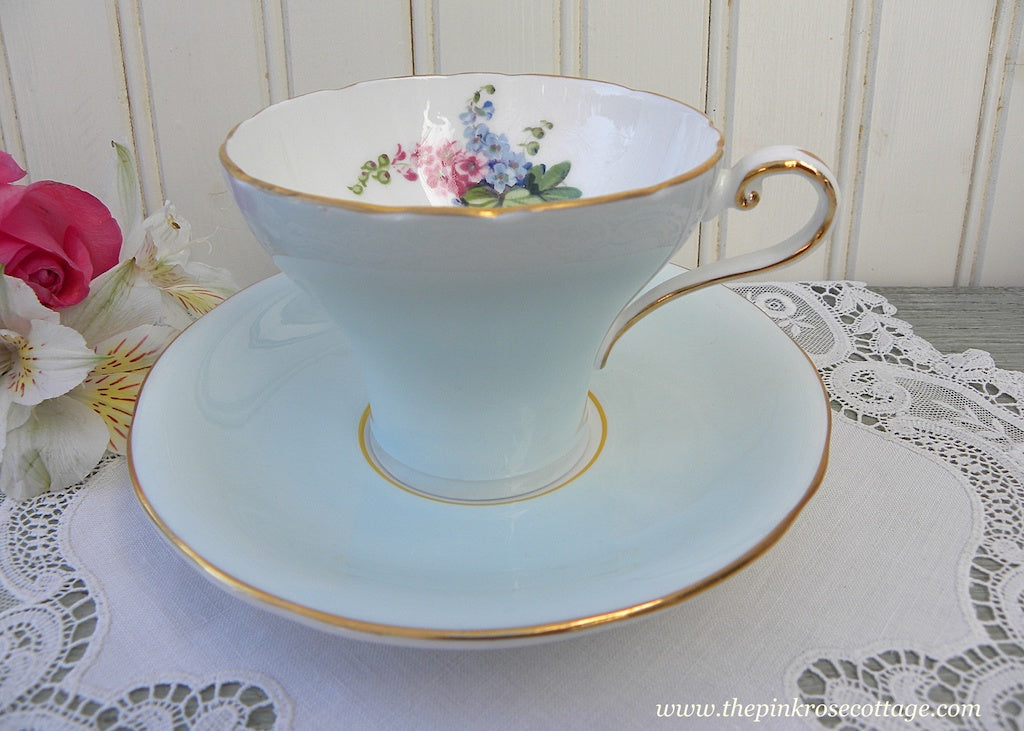 Vintage Ansyley Soft Blue Corset Teacup and Saucer with Delphinium Flowers - The Pink Rose Cottage