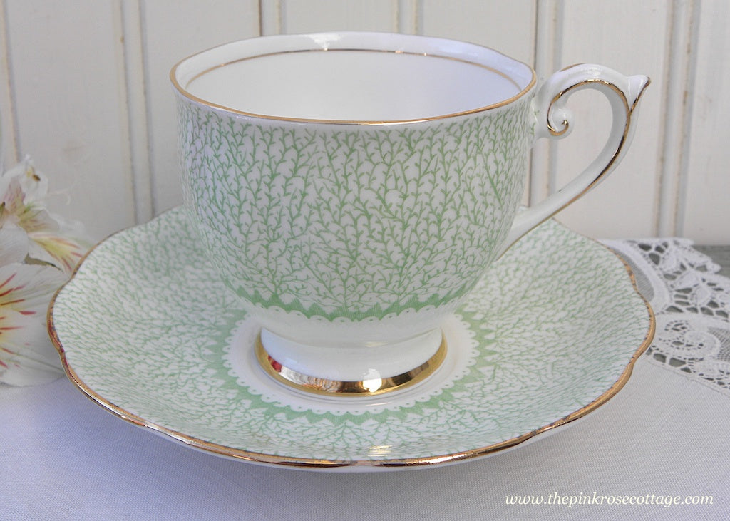 Vintage Bell China Green Branches Teacup and Saucer