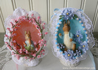2 Vintage Peter Rabbit Hand Made Real Egg Easter Ornaments - The Pink Rose Cottage