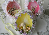 3 Vintage Hand Made Real Egg Easter Ornaments with Bunnies - The Pink Rose Cottage